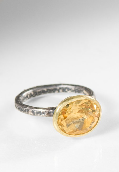 Disa Allsopp 18K Citrine, Oxidized Silver Regular Band Organic Ring