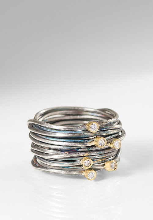 Disa Allsopp Oxidized Silver, 6 Diamond set in 18K Gold Spaghetti Ring