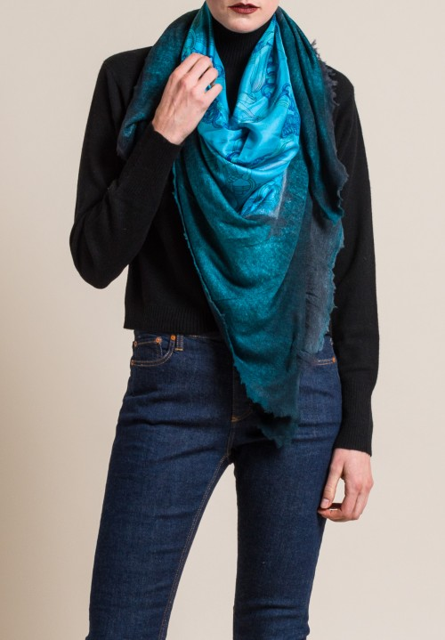 Avant Toi Silk Print Scarf, Ribbon & Bits in Turchese