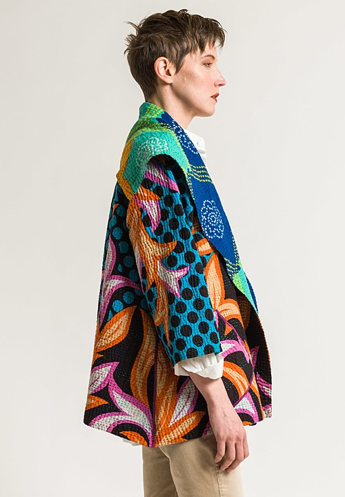 Mieko Mintz Flare Jacket in Turquoise/Orange