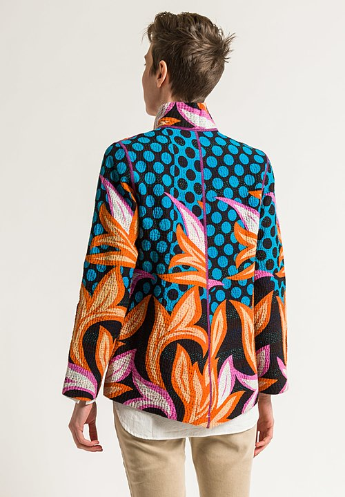Mieko Mintz Simple Jacket in Turquoise/Orange