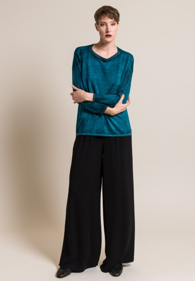 Avant Toi Lightweight Cashmere/Silk Sweater in Turchese