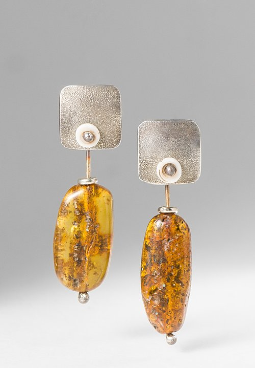 Holly Masterson Long Ancient Chiapas Amber Earrings