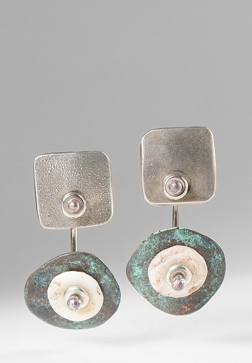 Holly Masterson Oxidized Disks & Shell Earrings