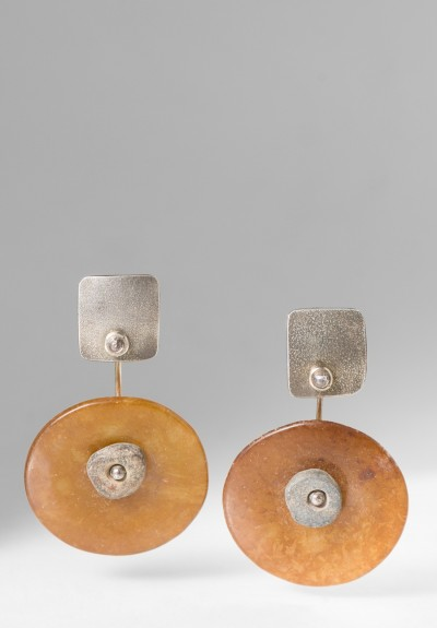 Holly Masterson Ancient Brown Jade Disk Earrings