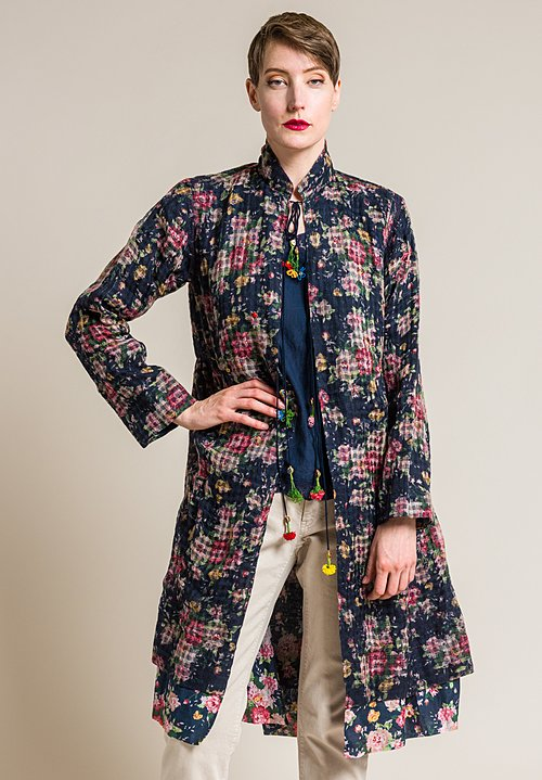 Péro Reversible Floral Jacket in Navy