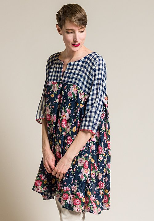 Péro Cotton/Silk Floral Oversized Tunic Dress in Navy