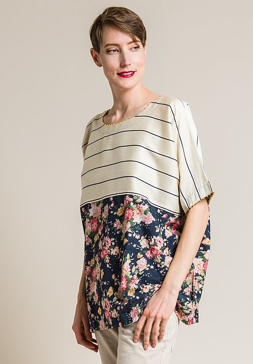 Péro Cotton/Silk Floral and Stripe Oversized Top in Navy