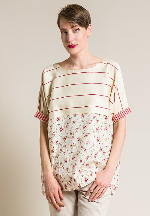 Péro Cotton/Silk Floral and Stripe Oversized Top in Red
