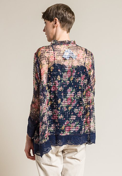 Péro Linen/Silk Sheer Crossover Floral Top in Navy