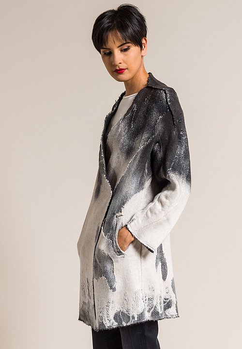Avant Toi Shredded Flax Knit Jacket in Carruba