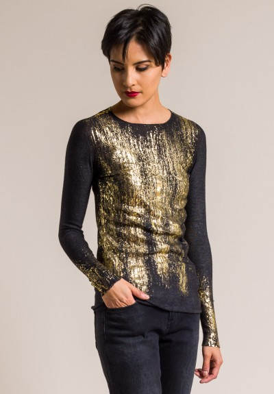Avant Toi Cashmere/Silk Fitted Gold Splatter Top