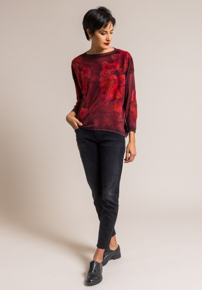 Avant Toi Cashmere/Silk Felted Patchwork Sweater in Coral