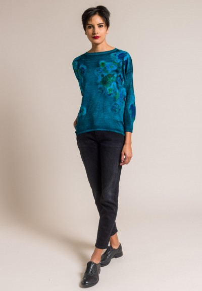 Avant Toi Cashmere/Silk Felted Patchwork Sweater in Turchese