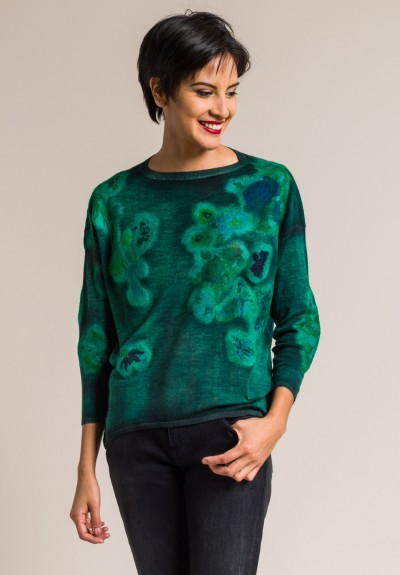 Avant Toi Cashmere/Silk Felted Patchwork Sweater in Smeraldo
