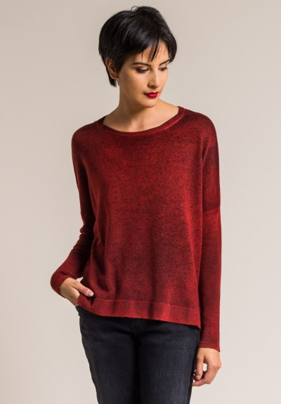 Avant Toi Cashmere Lightweight Side Slit Sweater in Smalto