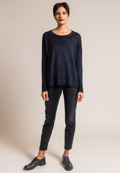 Avant Toi Cashmere Lightweight Side Slit Sweater in Blu Navy