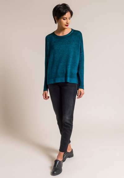 Avant Toi Cashmere Lightweight Side Slit Sweater in Turchese
