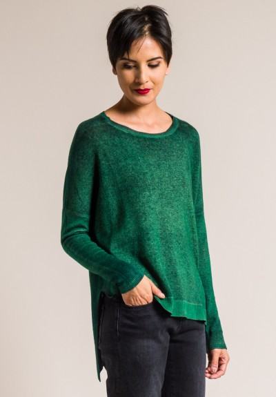 Avant Toi Cashmere Lightweight Side Slit Sweater in Smeraldo