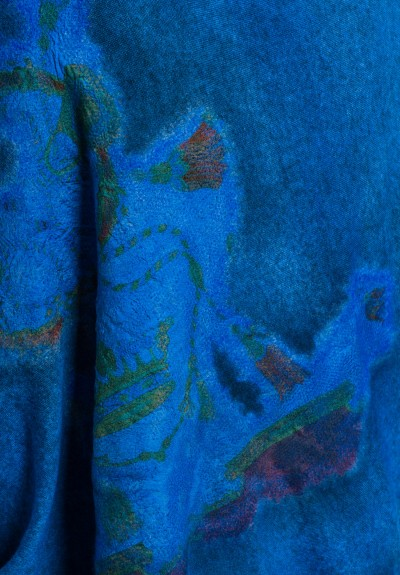 Avant Toi Cashmere/Silk Large Felted Patchwork Shawl in Sky