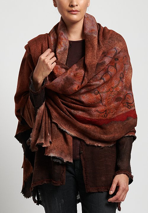 Avant Toi Cashmere/Silk Large Felted Patchwork Shawl in Equator