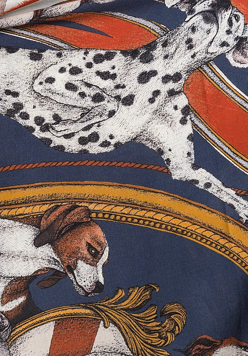 Sabina Savage Wool/Silk Lupus Scarf in French Navy/Iceberg