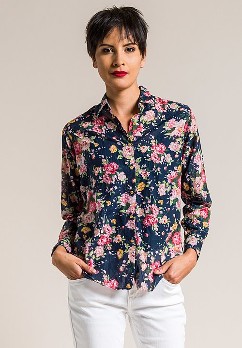 Péro Silk/Cotton Floral Button-Down Shirt in Navy