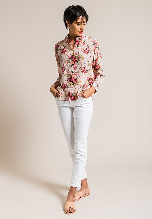 Péro Silk/Cotton Floral Button-Down Shirt in Cream