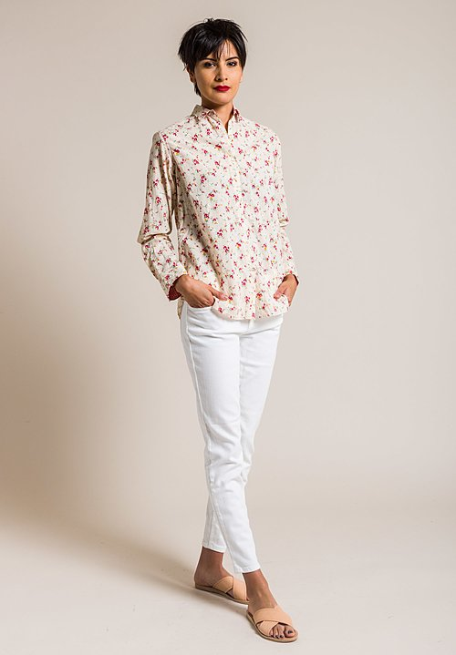 Péro Cotton Red Flower Button-Down Shirt in Cream