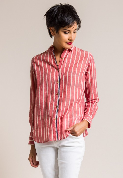 Péro Cotton Striped Button-Down Shirt in Red Stripe