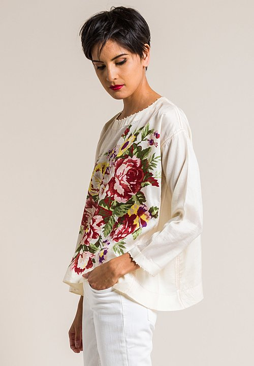 Péro Silk Oversized Floral Print Top in Cream