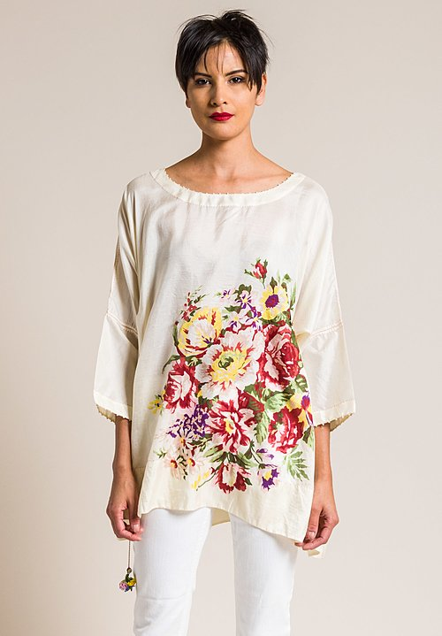 Péro Silk Oversize A-Line Floral Print Top in Cream