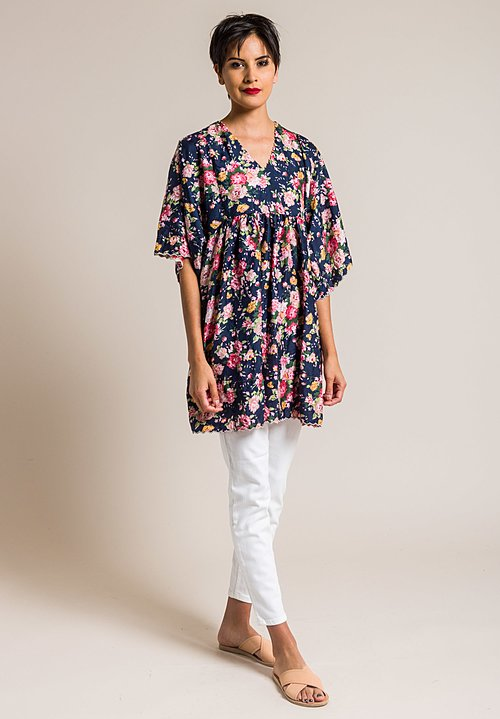 Péro Silk A-Line Floral Print Tunic in Navy