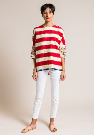 Péro Cotton/Silk Back Button-Down Top in Red Striped/Floral