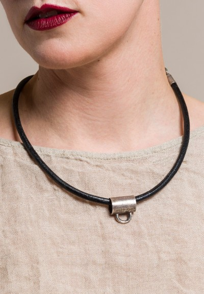 Holly Masterson Sterling, Leather 19 inch Adornment Necklace in Black