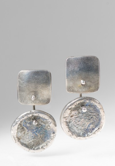Holly Masterson Sterling Silver Dropped Disk Earrings