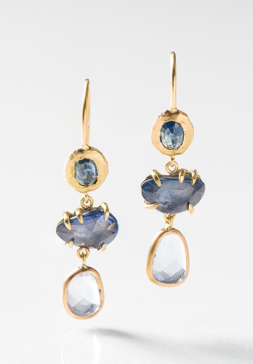 Page Sargisson 18K, 3 Drop Sapphire Earrings