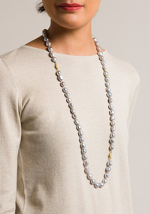 Tovi Farber 18K, Grey Pearl Necklace