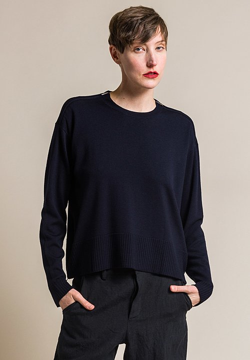 Ms MIN Loose Fitting Wool Crew Neck Sweater in Navy