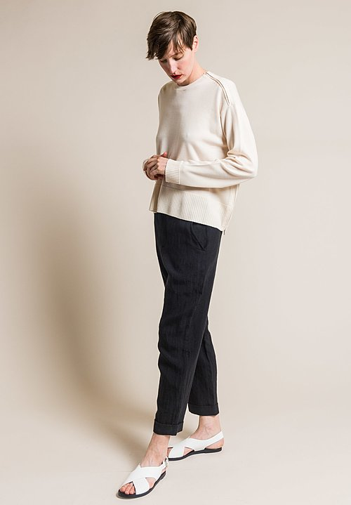 Ms MIN Loose Fitting Wool Crew Neck Sweater in Cream