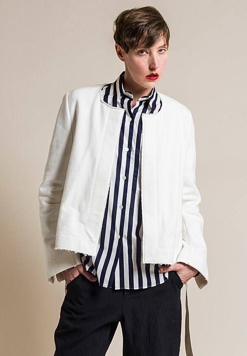 Ms MIN High Density Cotton Terry Cloth Jacket in Cream