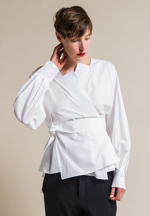 Ms MIN Knotted Cotton Wrap Shirt in White