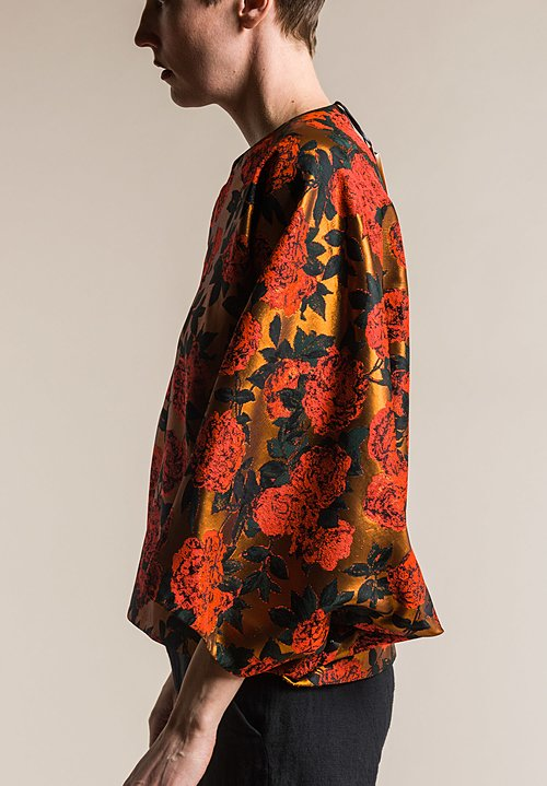 Ms MIN Floral Batwing Top in Fluor Orange