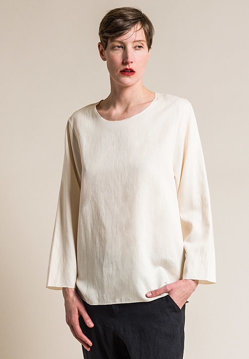 Ms MIN Wide Neck Top in Cream
