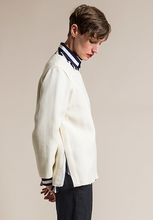 Ms MIN Wide Neck Side Zip Top in Cream
