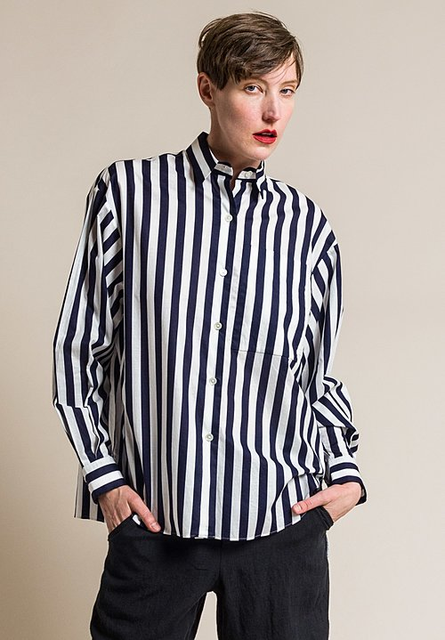 Ms MIN Cotton Stripe Button-Up Shirt in Blue/White