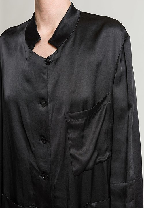 Urban Zen Crepe Satin Relaxed Tunic in Black
