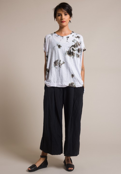 Gilda Midani Splatter Dyed Square Tee in Grey Stain White & Blue