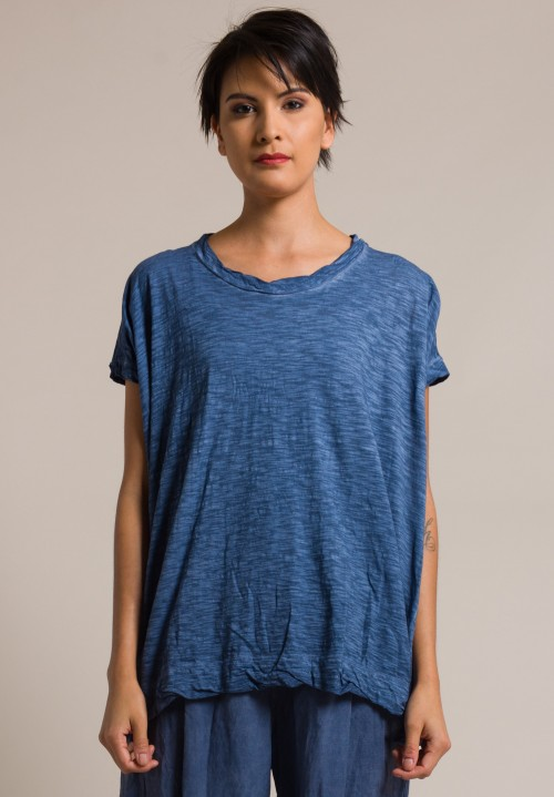 Gilda Midani Solid Dyed Cotton Square Tee in Deep Blue
