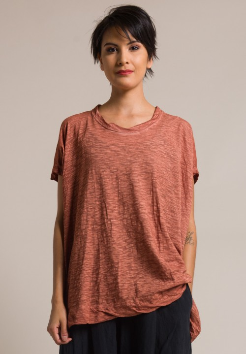 Gilda Midani Solid Dyed Square Tee in Cognaque Orange